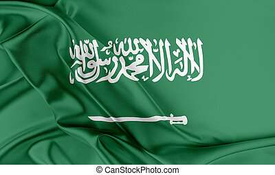 Saudi Arabia Flag Flag with a beautiful glossy silk texture...