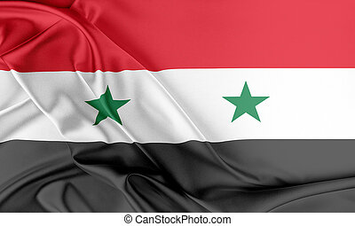 Syria Flag Flag with a beautiful glossy silk texture