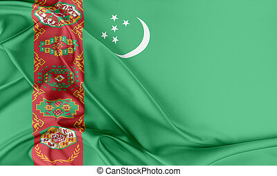 Turkmenistan Flag Flag with a beautiful glossy silk texture...
