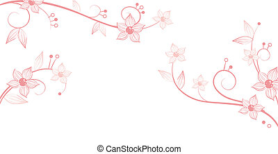 flower and vines pattern - drawing of beautiful flower and...