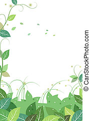 vines and leaves background - drawing of green leaves and...