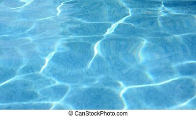 Water surface with rippling waves in the pool On the water...