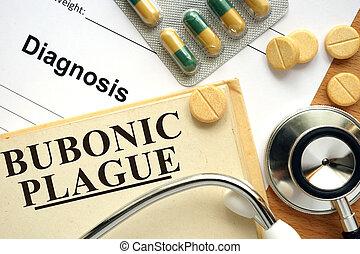 Bubonic plague - Word  Bubonic plague. Medical concept.