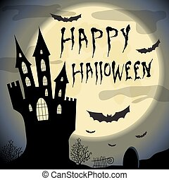 Happy halloween card.  Halloween vector template with haunted castle, full moon, trees and bats.