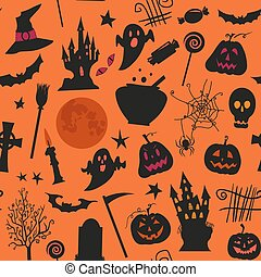 Seamless halloween pattern with , castles, candles,...