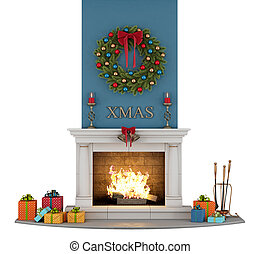Traditional fireplace with christmas decorations -...