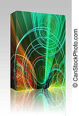 Glowing circles box package - Software package box Glowing...