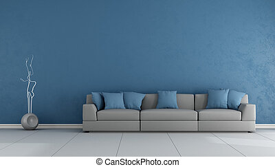 Blue and gray living ropom with elegant sofa - 3D Rendering