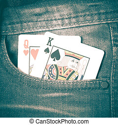 card in jean pocket retro vintage style