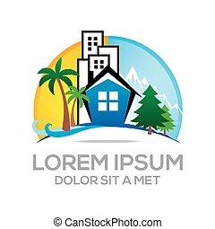 Logo beach real estate vector