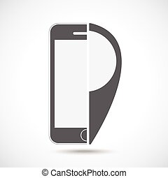 Abstract symbol concept. Mobile phone silhouette and map...