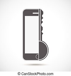 Abstract symbol concept. Mobile phone silhouette and key.