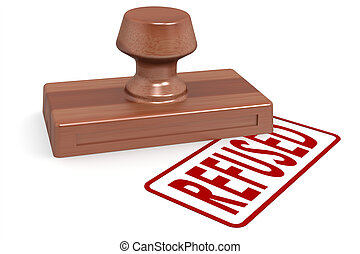 Wooden stamp refused with red text image with hi-res...