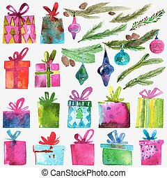 Watercolor Christmas set with gift boxes, holly branches and toys isolated on white background.