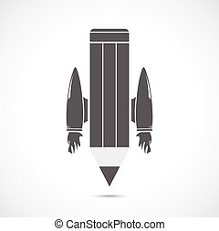 Pencil with jet engines on the gray background
