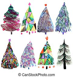 Watercolor Christmas tree set  isolated on a white background.