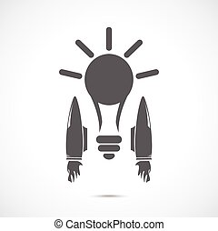 Bulb with jet engines on the gray background