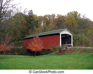 covered bridge - an old covered bridge in indiana...