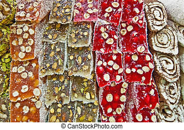 Spice Bazaar at Istanbul - Turkish candy for sale on the...