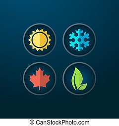 Four seasons icons - Four seasons icon symbol vector...