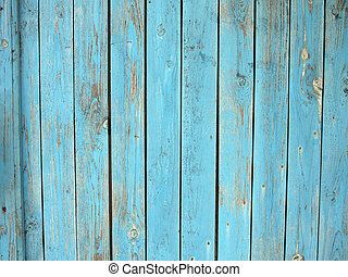 Old wooden planks with a shabby blue paint - Old wooden...