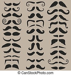 Vector set of hipster mustache Black silhouette Easy for...