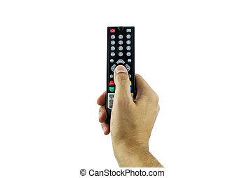 channel zapping - Hand holding television remote