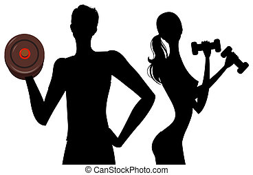 man and girl silhouette - drawing of black woman and man...