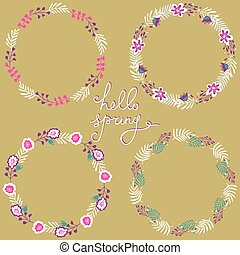 Set of floral frame. Beautiful collection of wreaths made of hand drawn leaves and flowers.
