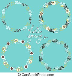 Set of floral frame. Beautiful collection of wreaths made of hand drawn leaves and flowers. Blue backdrop.