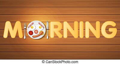 morning word with top view of breakfast in smiling face