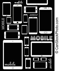 Mobile phones - Mobile phone and tablet background vector...
