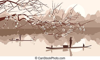 Blossoming tree with fishing boats - Vector illustration...