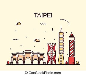 Taipei skyline Trendy vector illustration linear - Taipei...