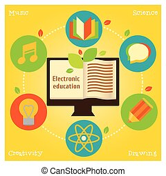 Info grafic about electronic education and science - Modern...
