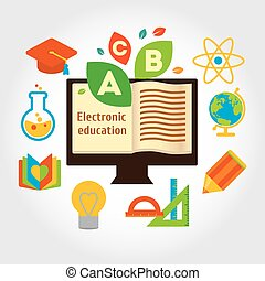 Info grafic about electronic education and science. - Modern...