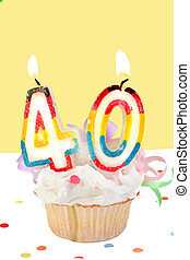 40th birthday - fortieth birthday cupcake with white...