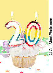 20th birthday - twentieth birthday cupcake with white...