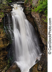 Miners Falls, a beautiful large waterfall at Pictured Rocks...