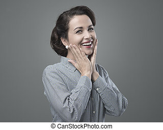 Cheerful 1950s woman feeling awesome and full of energy