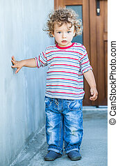 Baby boy portrait - Portrait of 1 year old baby boy walking...