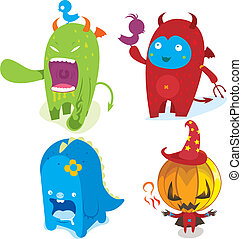 cute monster - four cute monster charcater pattern design.
