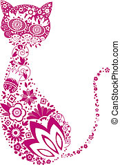 floral cat pattern design