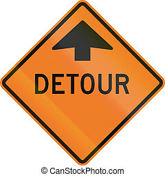 Detour Ahead in Canada - Roadworks sign in Canada - Detour...