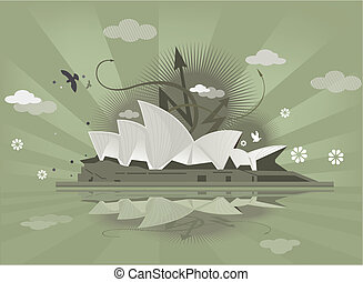 sydney opera. - sydney opera pattern design background.