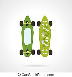 Flat color vector icon for modern skateboard - Flat color...
