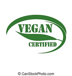 Vegan - Green stamp with text Vegan-Certified,vector...