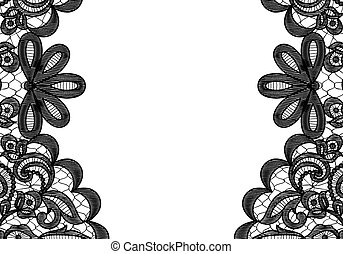 lace frame - Wedding invitation or greeting card with black...