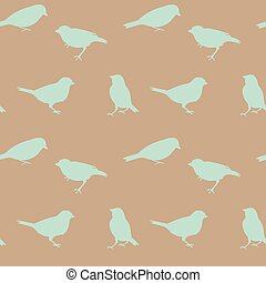 Vintage vector seamless pattern with birds