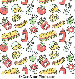 Fast food seamless background. Funny cartoon characters...